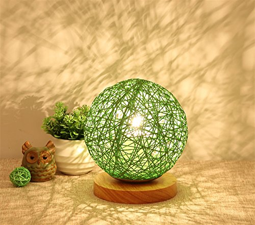 Rattan Painted Table (BOKT Minimalist Solid Wood Table Lamp Bedside Desk Lamp Colourful Home Decor Rattan Ball Round Lampshade (Green))