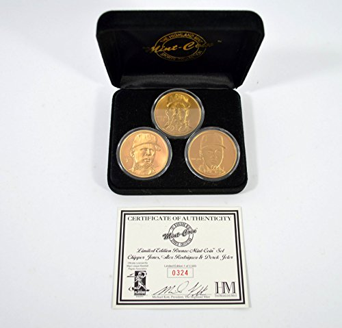 Highland Mint Chipper Jones/Alex Rodriquez/Derek Jeter Bronze 3 Coin Set (Highland Bronze Coin Set)