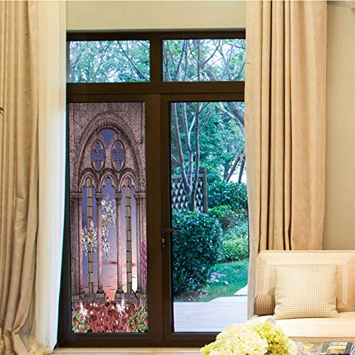 YOLIYANA Privacy Window Film,Gothic,for Home Office School,Ancient Colonnade in Secret Garden with Flowers at,24''x70''