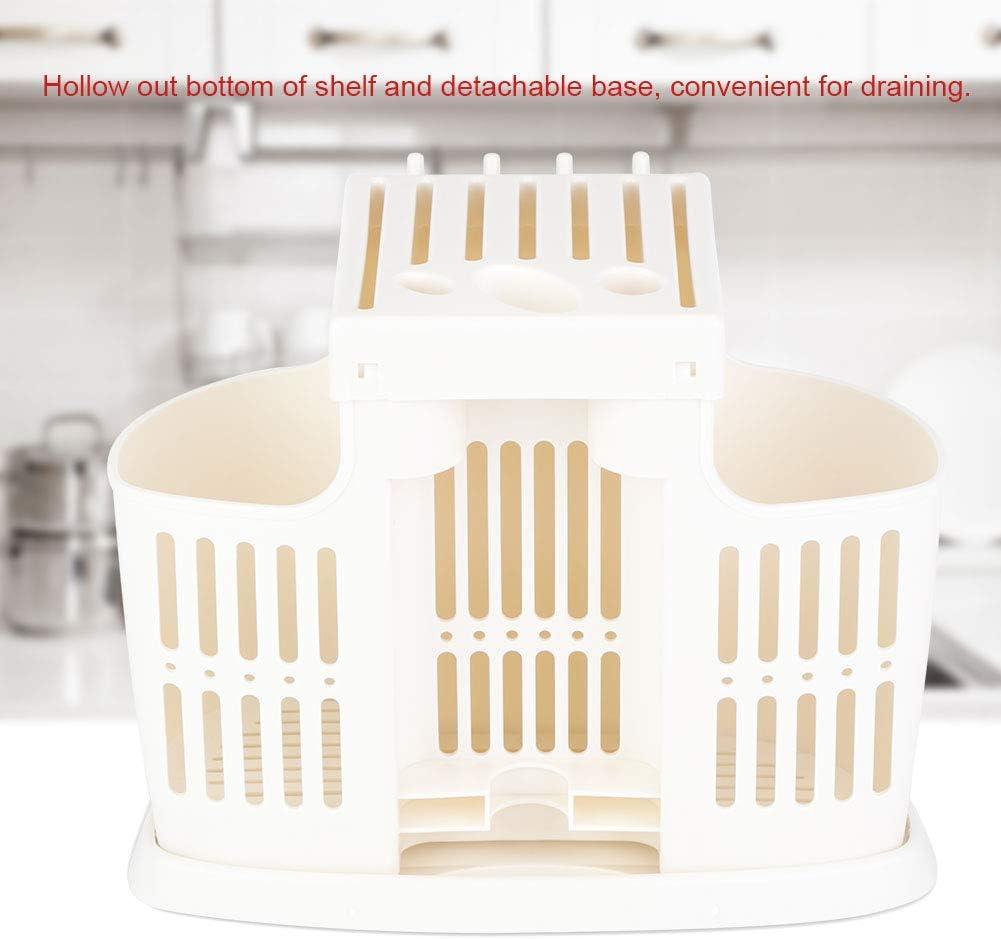 Cocoarm Estante de Almacenamiento de Cocina Multifuncionales Portacuchillas de Pl/¨/¢Stico Estante Palillos Escurrecubiertos Escurridor con Gancho Marfil Blanco 25 x 12 x 20cm