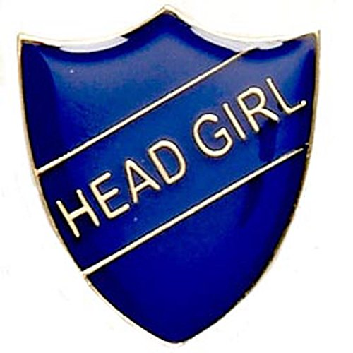 Head Girl Enamelled School Metal Shield Pin Badge In Blue