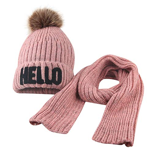 Christmas Scarf Hot Sale!!Kacowpper Toddler Girl&Boy Baby Winter Crochet Knit Hat Beanie Hairball Cap Scarf Set ()