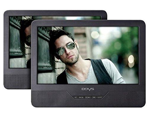 Odys Seal tragbarer DVD-Player mit zusätzlichem Bildschirm 23 cm (9 Zoll) (hochauflösendes digitales TFT-Display (800x480 Pixel), USB, SD-Card) schwarz