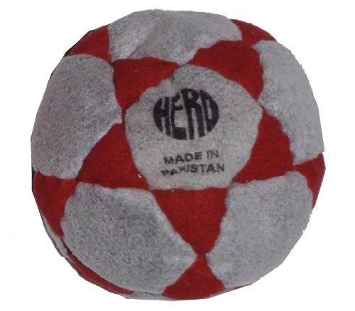 Hero Grey & Red 32-Panel Hacky Sack / Footbag - Comes with Tips & Game Instructions -