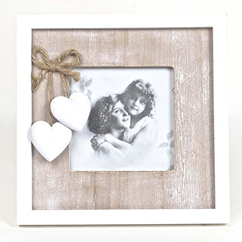 Chabby Chic Style Table Photo Frame -- Natural Wood with Wooden Hearts -- Washed Beige & (Chabby Chic)