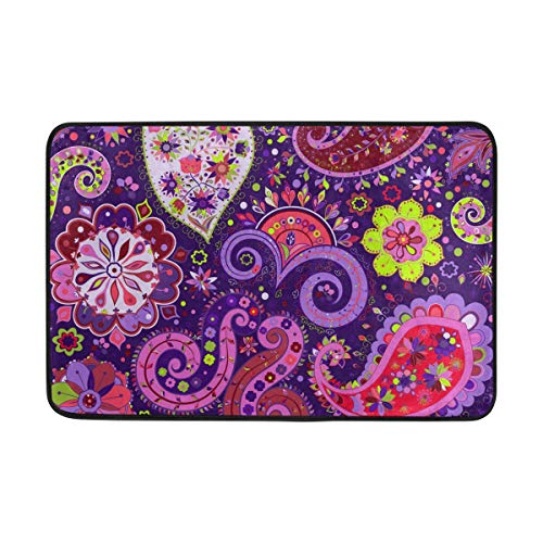 WIHVE Area Rugs Vintage Paisley Floral Purple Hippie Doormat Entrance Floor Mat Non-Slip Soft Absorbent Bathroom Kitchen Dining Room Carpet 2' x 1.5'