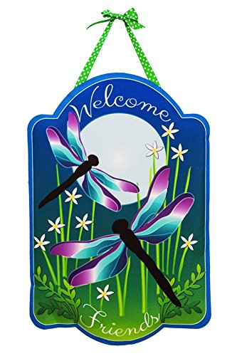 Evergreen Dragonfly Dance Outdoor Safe Felt Door Decor ()