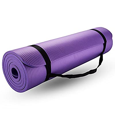 New Life Yoga Mat, with Carrying Travel Bag and Strap 2/5 Thickness NBR Multiple Use Exercise and Yoga, Purple