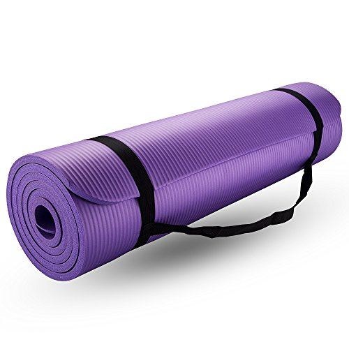 New Life Yoga Mat, with Carrying Travel Bag and Strap 2/5 Thickness NBR Multiple Use Exercise and Yoga, Purple by Bojing