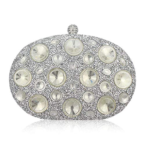 Giant Light Blue Rhinestones Women Evening Bags Metal Wedding Party Crystal Clutch Handbag Purse silver 23