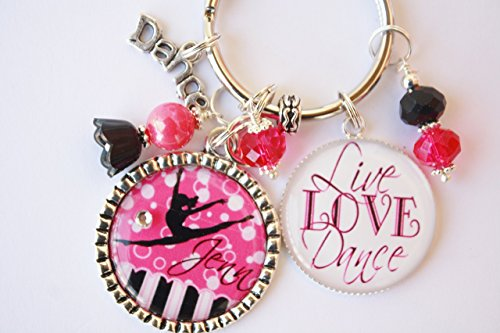 - Personalized Dance Key Chain Child Coach Teacher Live Love Dance Ballet Tap Jazz Hip Hop Irish Modern Acro Dance Award Recital Gift CHOICE OF COLOR CHARM & SILHOUETTE