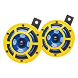 HELLA 922000731 Sharptone 12V High Tone/Low Tone Twin Horn Kit with Yellow Protective Grill, 2 Horns