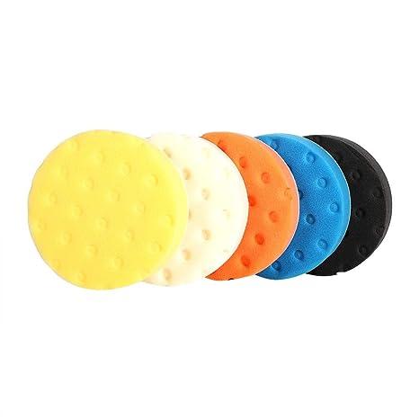 5 piezas 3//4//5//6//7 pulgadas Juego de almohadillas amortiguadoras de esponja de pulido de lavado inteligente para accesorios de autom/óviles pulidoras de 5inch