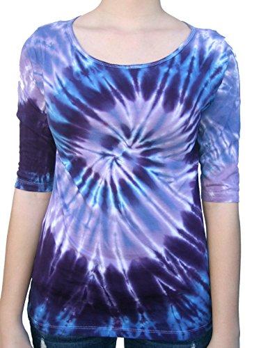 (Rockin' Cactus Women's(Reg)3/4 Sleeve Tie Dye Shirt-Purple & Blue Spiral-XL)
