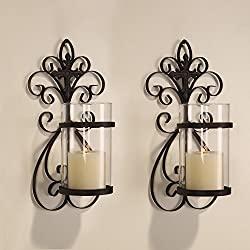 Adeco Iron and Glass Vertical Wall Hanging Scroll