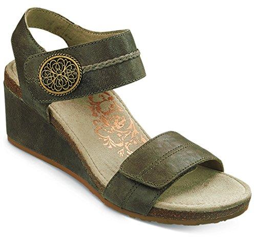 Aetrex Women's Arielle ADJ Strap Wedge Sandal, Stone, 38 EU/7.5-8 M US
