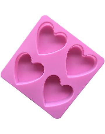 Leisial Molde de Pastel Silicona Forma de Corazón Molde de Jabón Hecho a Mano para Magdalenas
