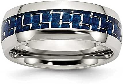 Chisel Stainless Steel Blue Carbon Fiber Inlay Polished Band