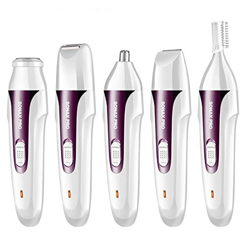 YANWIN Women Hair Removal Kit,5 in 1 USB Electric Waterproof Lady Shaver Body Hair Groomer Trimmer For Face/Legs/Eyebrow/Nose/Bikini Female Epilator Wet and Dry - Purple by YANWIN