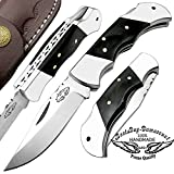 Best.Buy.Damascus1 Buffalo Horn 5.5″ Custom Handmade Double Bolster Stainless Steel Folding Pocket Knife Back Lock 100% Prime Quality For Sale