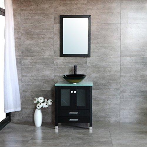 "BATHJOY 24"" Modern Wood Bathroom Vanity Cabinet Tempered Glass Vessel Sink Top Free ORB Faucet Drain with Mirror by BATHJOY"