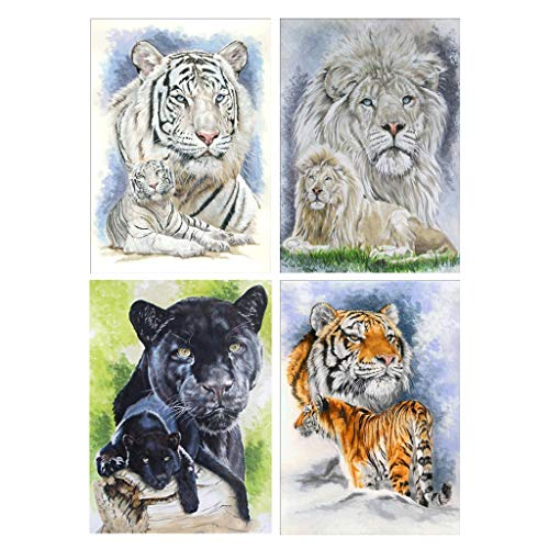 yangerous 4 Pack Tiger Lion 5D DIY Diamond Painting Kits Full Drill Rhinestone Embroidery Cross Stitch Home Decor Craft ()