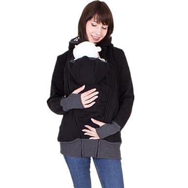 ShareJ Women s Maternity Kangaroo Hooded Multifunction Hoodie Sweatshirt  for Baby Carriers Coat (S 7d342320f8