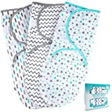 Baby Swaddle Wrap Sack for Newborn Boys and Girls | 0-3 Month| 3 Set of Adjustable Infant Swaddle Blanket with Fastener Straps | Breathable Soft Cotton