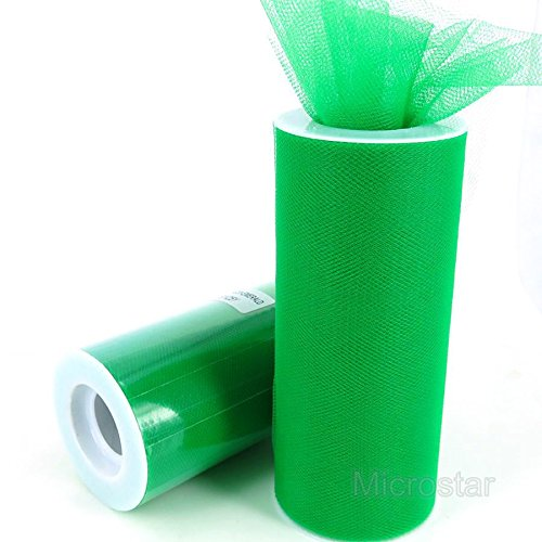 Ben Collection 6 Inch x 25 Yards 6 Pack (150 Yard) Tulle Roll Spool Tutu Skirt Fabric Wedding Party Craft (Emerald) ()