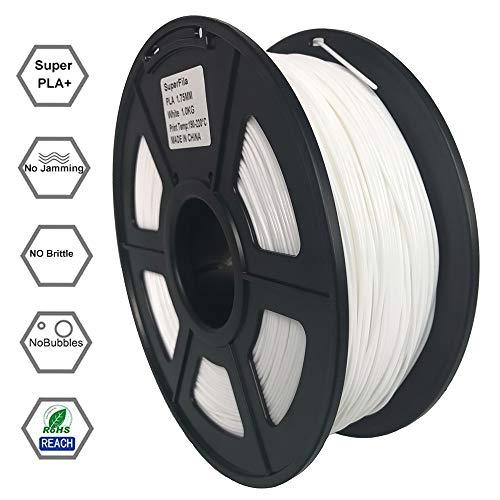 Filamento de impresora 3D Superfila PLA para Ender 3 / Ender 3 Pro, precisión dimensional +/- 0.03 mm, carrete de 1 kg, 1.75 mm, blanco (blanco de porcelana)