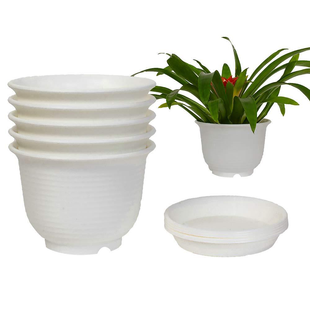Dttian 5 Sets Plastic Flower Pot with Pallet Indoor Plants Planters Garden Pot(6inch, White)