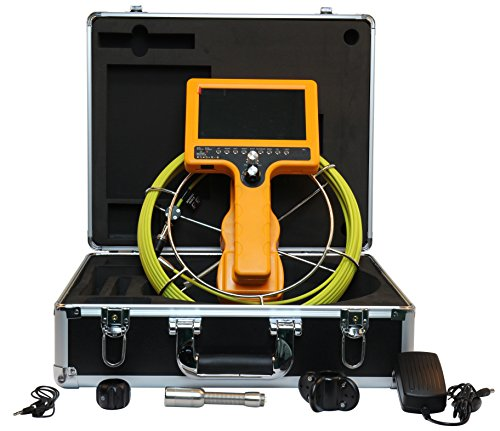 710D-SCJ Pipe Sewer Inspection Video Camera Pipeline Inspection Monitor 23mm Camera with Waterproof IP68 30m Cable 7 Inch TFT LCD Monitor DVR Recorder 8GB SD Card Drain Industrial Endoscope - Sd Handheld Recorder