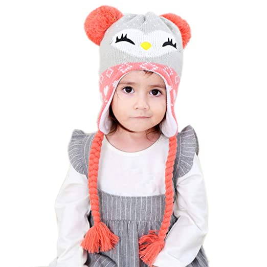424ea6e0a1c Winter Hats for Girls - Cartoon Fox Kids Warm Sherpa Earflaps Snow Hat  Toddler Child Little