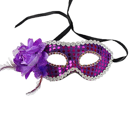 Pretty Womens Masquerade Glitter Mask with Flower And Feathers (Simple Venetian Masks)