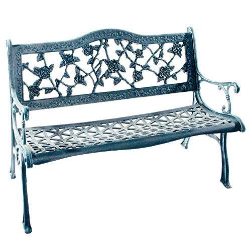 - Flower Lovers English Rose Cast Aluminum Outdoor Bench