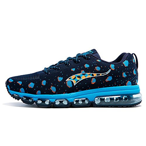 Onemix Men's And Women's Air Cushion Knit Walking Trainers Fitness Sports Running Shoes Casual Shoes Bule