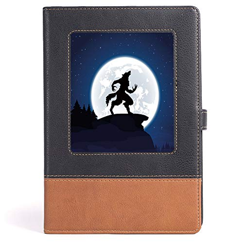 Hardcover - Wolf - Case Bound Notebook - Full Moon Night Sky Growling Werewolf Mythical Creature in Woods Halloween - 100 Ruled Sheets - A5/6.04x8.58 in