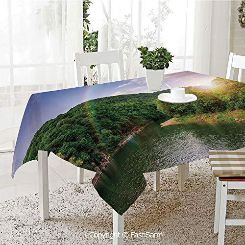 3D Dinner Print Tablecloths Summer Scene by Mountain Valley with Rainbow Over The Lake Sunny Day Image Table Protectors for Family Dinners (W55 xL72) (Best Food South Lake Union)