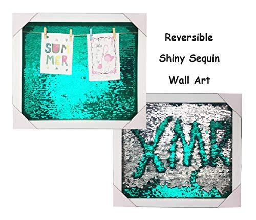 DAMOR Reversible Shiny Sequin Wall Décor Picture Frame Photo Frame (L16 xW14 xH1, Green&Silver) ()
