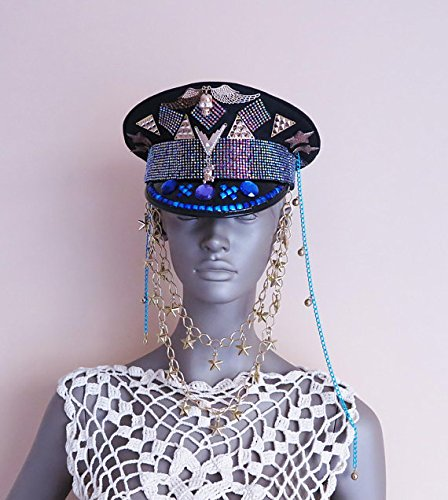 Burning Man Hat, Marching Band hat, Captain's Hat, Festival Hat, Party headdress, Burner Playa Cap, Raver headpiece, Military jeweled hat by April Delouvre