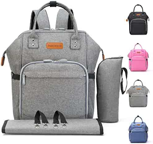 Diaper Backpack Bag with Wide Open Design, Changing Pad, Insulated Cooler Pocket for Bottle Storage, Stroller Straps, by Pantheon, for Boys or Girls, Mom or Dad (Gray)