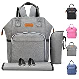 Diaper Bag Baby Backpack with Changing Pad, Insulated Cooler Pocket for Bottle Storage, Stroller Straps, by Pantheon, Best Bags for Girl or Boy, Mom or Dad (Gray)