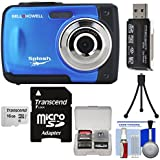 Bell & Howell Splash WP10 Shock & Waterproof Digital Camera (Blue) with 16GB Card + Tripod + Reader + Kit