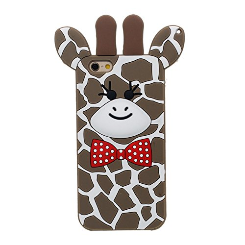 Apple iPhone 7 4.7 inch Coque, 3D Mignon Girafe Forme Doux Élastique Silicone Confortable Tactile Cartoon Style Housse de Protection Case
