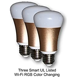 UL Listed, (3 Pack), 7W (Echo) RGB WiFi Smart LED Light Bulb, Dimmable, Multi-Colors Tuya / Tuya Smart