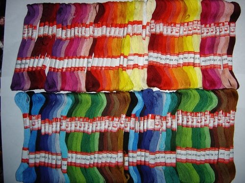 100 Skeins Assorted Embroidery Cross Stitch Threads Floss 6