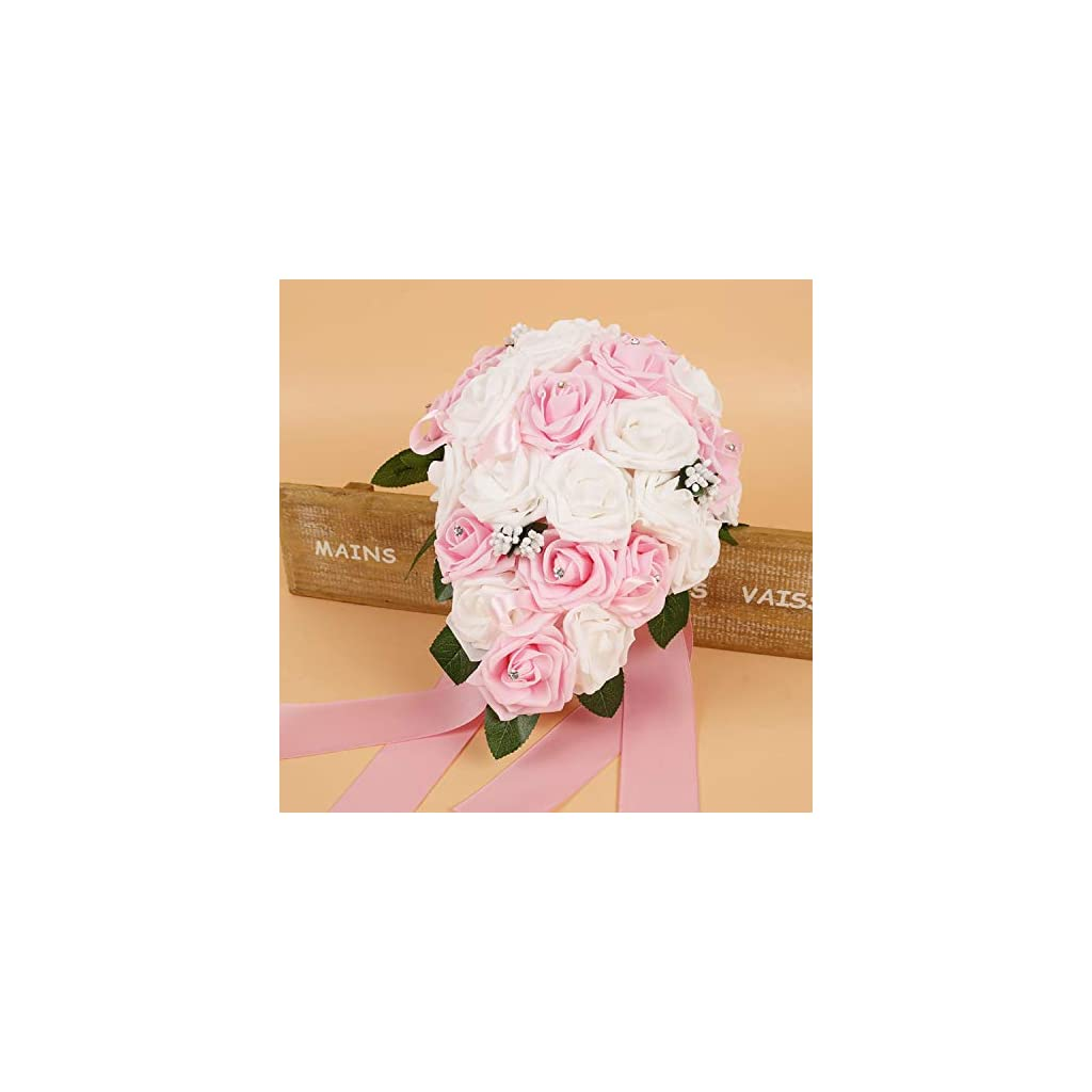 New 2 Colors Rose Wedding Flowers Bridal Bouquets Handmade Artificial Bridal Bouquet with Ribbon for Wedding Decoration,White