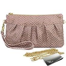 Missy K Leather Wristlet Clutch Purse, Snake Skin, Pink, + kilofly Money Clip