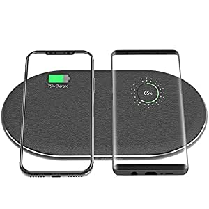 Fast Wireless Charger, ZVE Qi Certified Dual Wireless Charger Charging Pad [AC Adapter included] for iPhone X, iPhone 8/8 Plus,Samsung Galaxy S9/ S9+/ S8 / S8+/ S7 S7 Edge Note 8 - Black