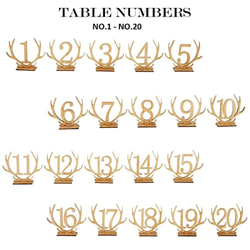 Wellinc Table Numbers 20 Pack (Number 1-20) Wedding Wood Table Numbers Unique Design Party Table Cards for Wedding Events and Banquet by Wellinc (Image #5)